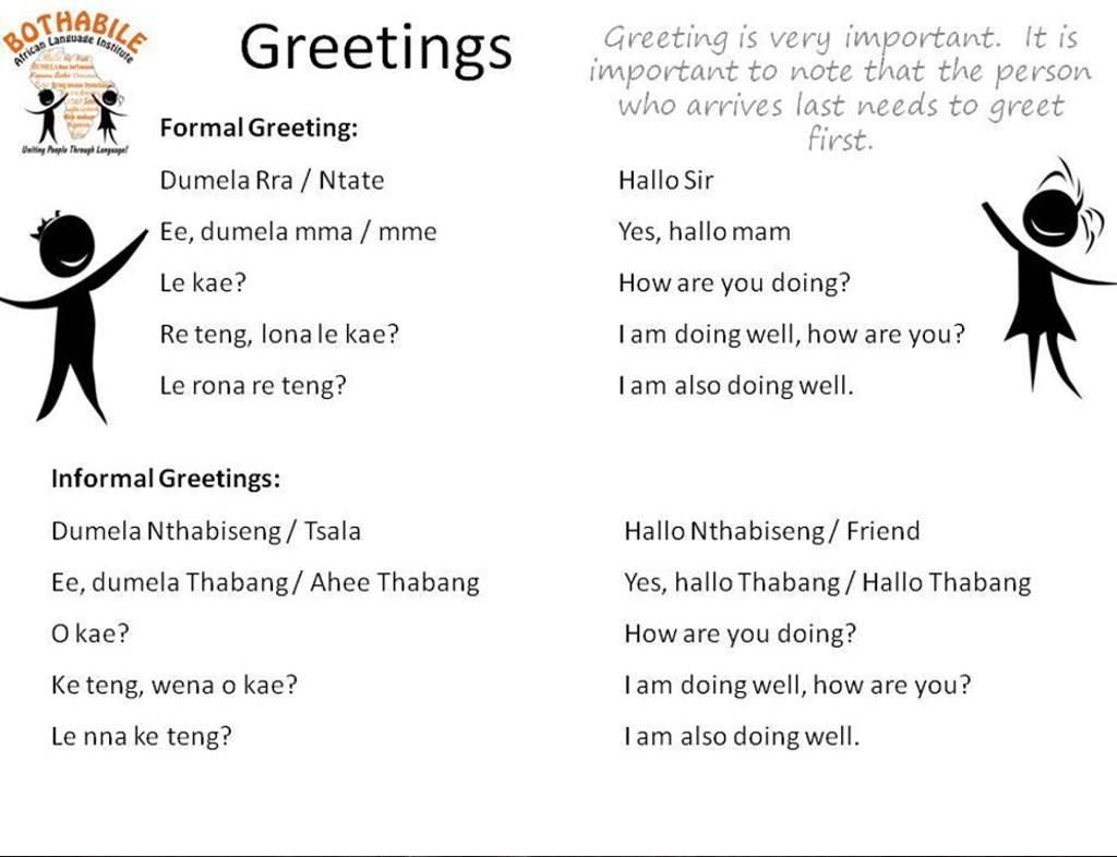 Learn sesotho setswana zulu afrikaans with bothabile greetings how to greet and say goodbye people m4hsunfo